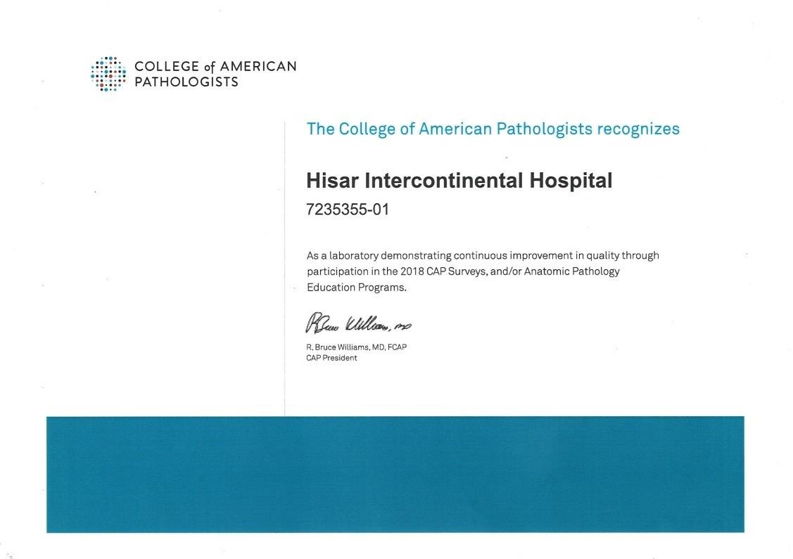 Hisar College of American Pathologists Certificate - Больница Hisar Intercontinental